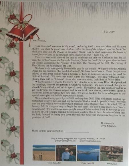 December 2019 Prayer Letter